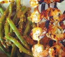 Day 3: Ginger lime grilled shrimp and Asian almond butter green beans